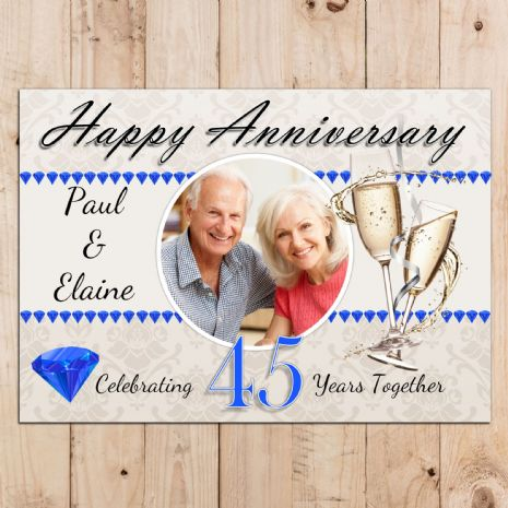 Personalised 45th Sapphire Wedding Anniversary Party PHOTO Banner Poster N96